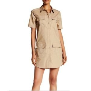 Equipment Tan Safari Utility Shirt Dress